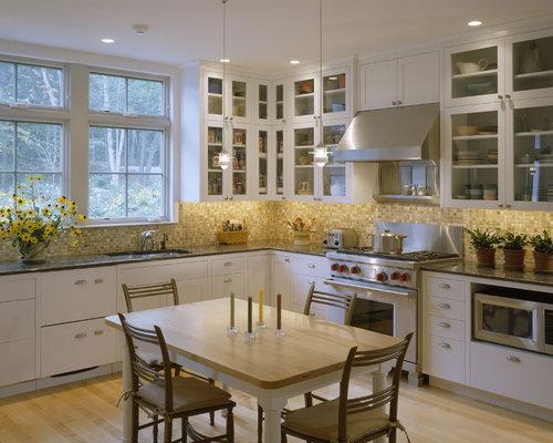 Inspiration For A Contemporary Kitchen Remodel In Boston With Mosaic Tile  Backsplash, Brown Backsplash,