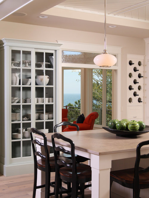Inspiration For A Mid Sized Timeless Kitchen Remodel In Grand Rapids With Glass Front