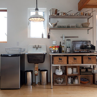 Kitchen - eclectic single-wall kitchen idea in Other with a single-bowl sink, stainless steel countertops and stainless steel appliances