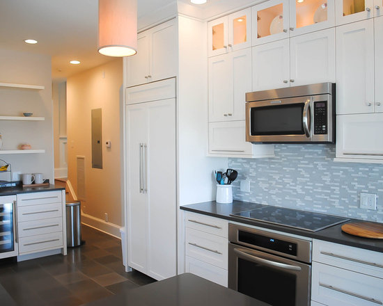 Grey Blue Backsplash Houzz