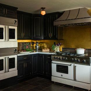 Example of a minimalist enclosed kitchen design in Philadelphia