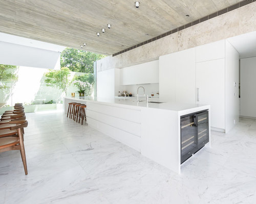 Kitchen design ideas renovations photos with white for White marble floor designs