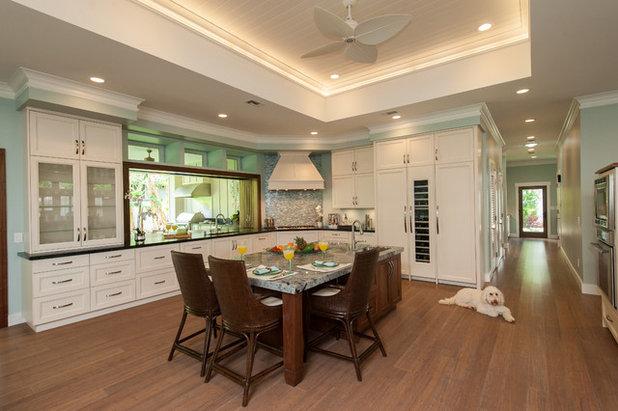 Transitional Kitchen by Archipelago Hawaii Luxury Home Designs