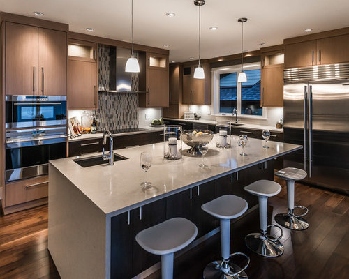 Trendy L Shaped Kitchen Photo In Vancouver With An Undermount Sink,  Flat Panel