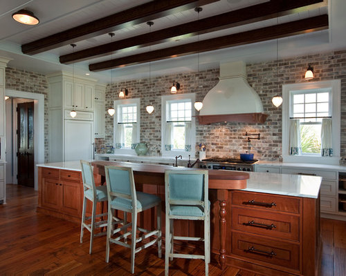 Whitewashed Brick Backsplash | Houzz