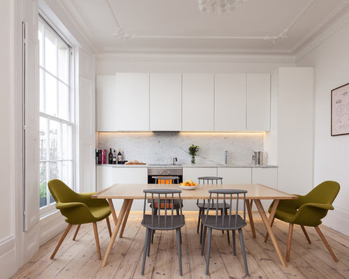 example of a danish kitchen design in london with marble backsplash - Scandinavian Kitchen Design