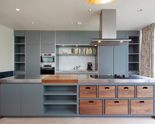 Large Contemporary Kitchen Pictures Example Of A Large Trendy Kitchen Design In London With An