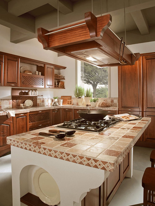 Tile kitchen counter houzz for Kitchen ideas with porcelain countertops