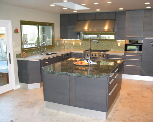 Mid Sized Modern Galley Kitchen Idea In San Diego With A Double Bowl Sink
