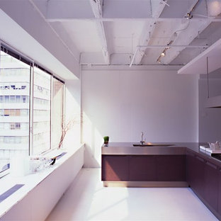 Large modern l-shaped kitchen pantry in New York with a breakfast bar, flat-panel cabinets, stainless steel cabinets, stainless steel worktops, stainless steel appliances, a submerged sink and light hardwood flooring.