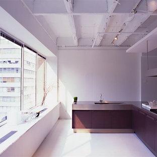 Große Moderne Küche in L-Form mit Vorratsschrank, Halbinsel, flächenbündigen Schrankfronten, Edelstahlfronten, Edelstahl-Arbeitsplatte, Küchengeräten aus Edelstahl, Unterbauwaschbecken und hellem Holzboden in New York