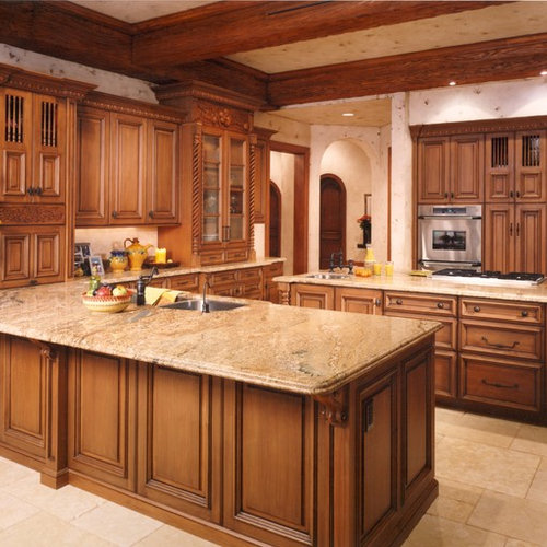 Inspiration For A Large Mediterranean U Shaped Travertine Floor Kitchen  Remodel In Orlando With Raised