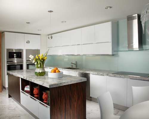 Large Contemporary L Shaped Eat In Kitchen Idea In Miami With Flat Panel