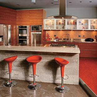 Photo of a contemporary kitchen in Chicago with concrete benchtops, stainless steel appliances and orange floor.