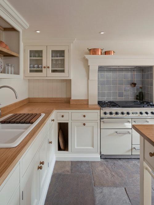 Küchen mit Schrankfronten im Shaker-Stil und Schieferboden Ideen ...