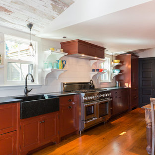 Farmhouse Eat In Kitchen Ideas   Example Of A Country Medium Tone Wood  Floor And