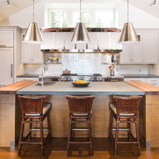 Large rustic enclosed kitchen designs - Large mountain style orange floor enclosed kitchen photo in New York with an undermount sink, white cabinets, metallic backsplash, metal backsplash, paneled appliances, an island, shaker cabinets and concrete countertops