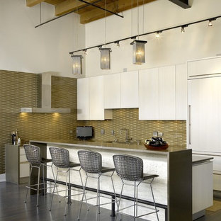 Design ideas for an industrial l-shaped kitchen in Chicago with flat-panel cabinets, white cabinets, green splashback and panelled appliances.