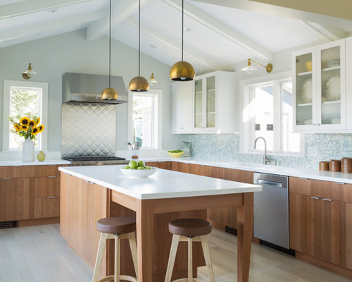 designer kitchen wall tiles. Contemporary kitchen ideas  Trendy l shaped light wood floor and beige photo Kitchen Wall Tile Houzz