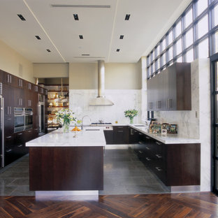 Trendy gray floor kitchen photo in Miami with stainless steel appliances, flat-panel cabinets, dark wood cabinets, marble countertops, white backsplash and stone slab backsplash