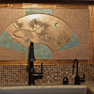 サンフランシスコのアジアンスタイルのおしゃれなキッチン (セメントタイルのキッチンパネル) の写真