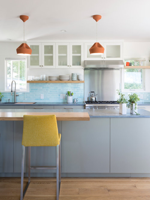 Light Blue Backsplash Houzz