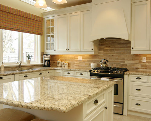 Inspiration For A Mid Sized Timeless U Shaped Ceramic Floor Kitchen Remodel  In Toronto