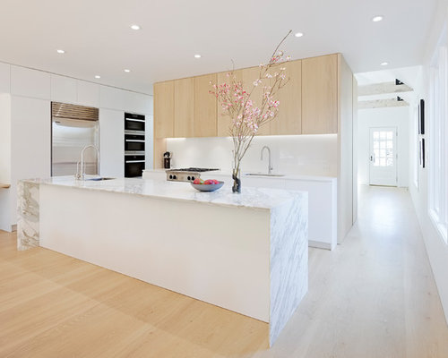 mid sized modern open concept kitchen ideas mid sized minimalist galley light wood