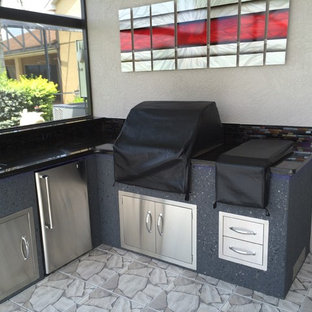 Small classic l-shaped kitchen pantry in Tampa with a single-bowl sink, stainless steel cabinets, granite worktops, grey splashback, ceramic splashback, stainless steel appliances and no island.