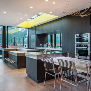 This is an example of a contemporary galley kitchen in Other with an integrated sink, flat-panel cabinets, dark wood cabinets, stainless steel benchtops, stainless steel appliances, concrete floors and multiple islands.