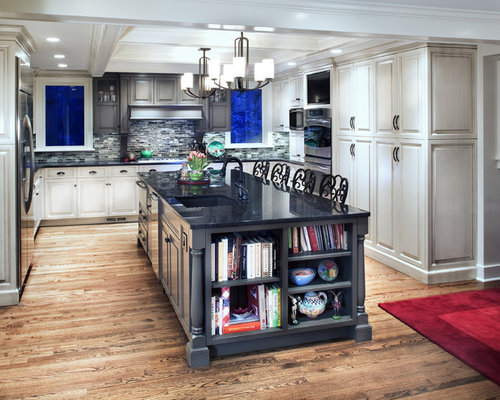 island bookcase houzz 40 ideas of using open shelves on a kitchen shelterness
