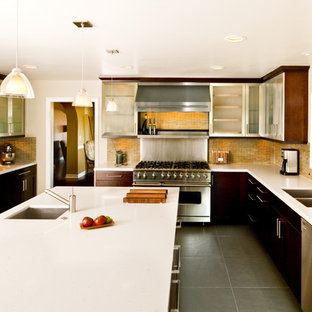 Contemporary kitchen in Los Angeles with matchstick tile splashback, stainless steel appliances, a double-bowl sink, glass-front cabinets, stainless steel cabinets and yellow splashback.