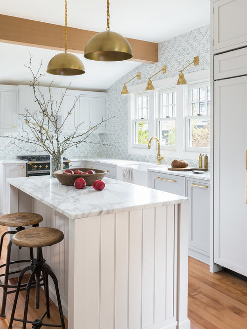 transitional kitchen pictures example of a transitional l shaped medium tone wood floor kitchen - White Kitchen Design Ideas