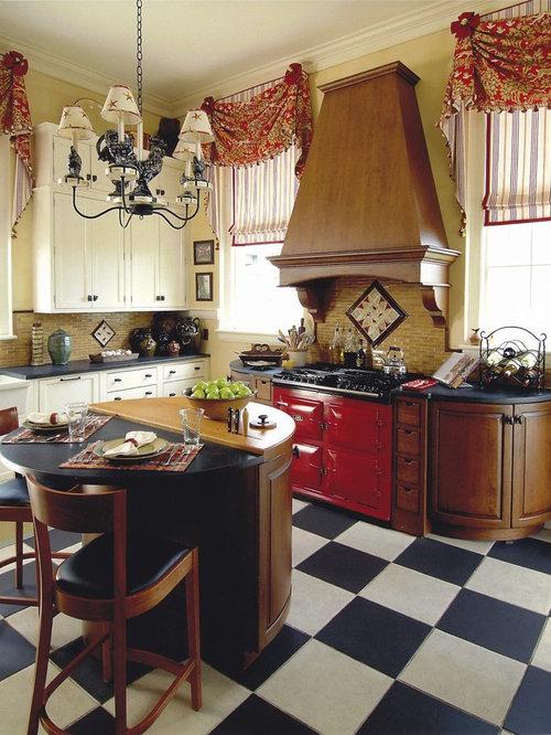 Elegant Kitchen Photo In Boston With Medium Tone Wood Cabinets, Beige  Backsplash And Colored Appliances