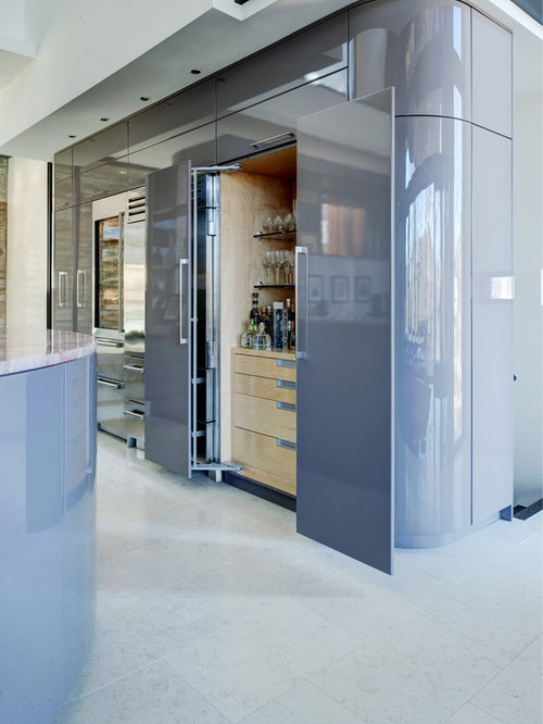 inspiration for a contemporary kitchen remodel in atlanta with gray cabinets and stainless steel appliances