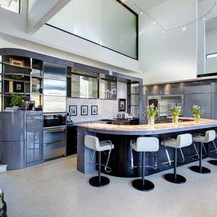Modern kitchen in Atlanta with stainless steel appliances.