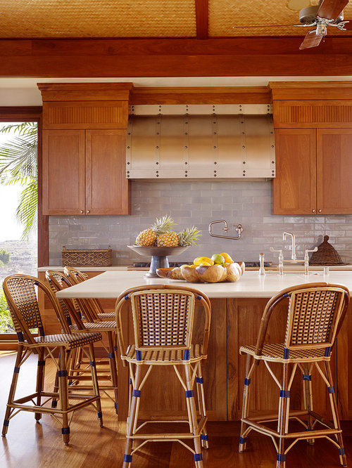 Wood cabinets wood floors home design ideas pictures for Tropical kitchen decor