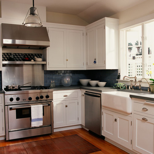 white cabinets dark backsplash | houzz