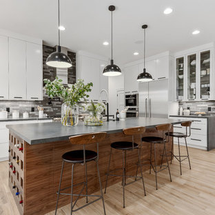 Large Contemporary Eat In Kitchen Liance Inspiration For A L Shaped