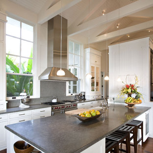 Contemporary kitchen inspiration - Example of a trendy kitchen design in San Francisco with glass-front cabinets, white cabinets and stainless steel appliances