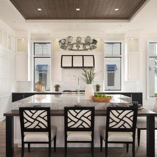 マイアミの中くらいのビーチスタイルのおしゃれなキッチン (シェーカースタイル扉のキャビネット、白いキャビネット、御影石カウンター、白いキッチンパネル、サブウェイタイルのキッチンパネル、茶色い床、アンダーカウンターシンク、シルバーの調理設備、濃色無垢フローリング、白いキッチンカウンター、折り上げ天井、板張り天井) の写真