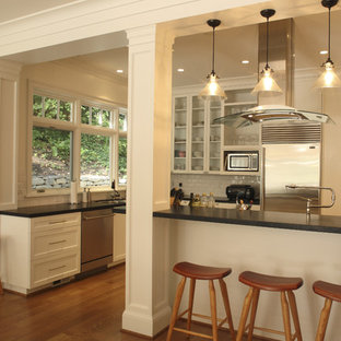 Design ideas for a contemporary kitchen in Portland with stainless steel appliances.