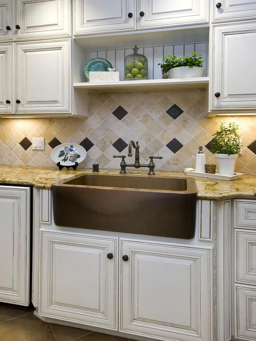 Cream Glazed Cabinets | Houzz