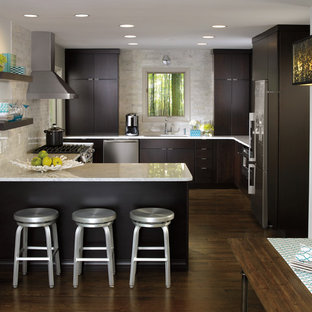 Inspiration For A Small Modern L Shaped Medium Tone Wood Floor Eat In  Kitchen