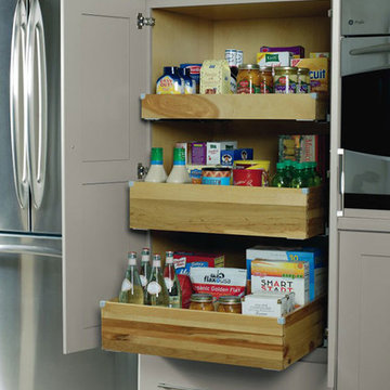 Kemper Cabinets: Deep Roll Trays in Pantry Top Unit