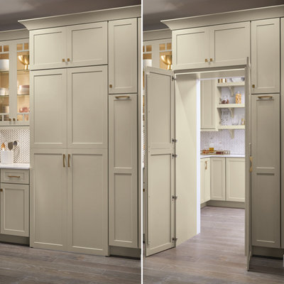 Kitchen pantry - large transitional l-shaped dark wood floor and brown floor kitchen pantry idea in Other with an undermount sink, shaker cabinets, white cabinets, white backsplash, stainless steel appliances, an island and white countertops