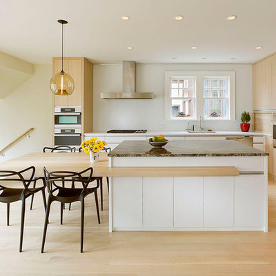 Inspiration for a scandinavian eat-in kitchen remodel in Minneapolis with flat-panel cabinets, light wood cabinets and stainless steel appliances