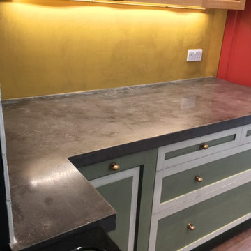 Kensal Green Seamless Polished Concrete worktop with integral concrete sink