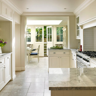 Kitchen   Traditional U Shaped Kitchen Idea In London With An Undermount  Sink, Beaded