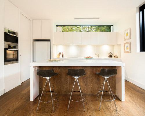 Good Mid Sized Modern Kitchen Ideas   Mid Sized Minimalist Galley Medium Tone  Wood Floor